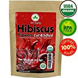 Hibiscus Tea 1LB (16Oz) 100% CERTIFIED Organic Hibiscus Flowers Herbal Tea (CUT&SIFTED), Caffeine Free Tea (200+ cups) 1 lb. Bulk Resealable Kraft BPA-Free Bag