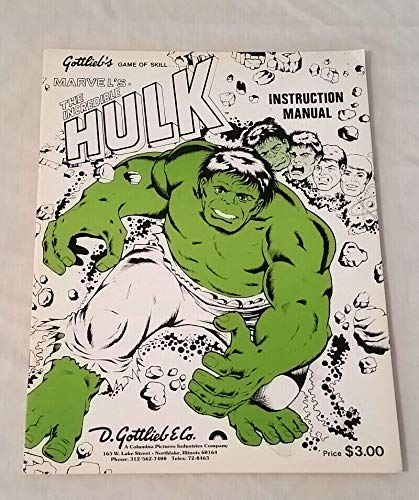 ble Hulk Pinball Original NOS Manual ()