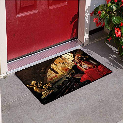 (Jinguizi Venice Inlet Outdoor Door mat Young Woman with a Red Cloak and Carnival Mask Riding on Antique Gondola Catch dust Snow and mud W35.4 x L47.2 Inch Red Black Pale Brown)