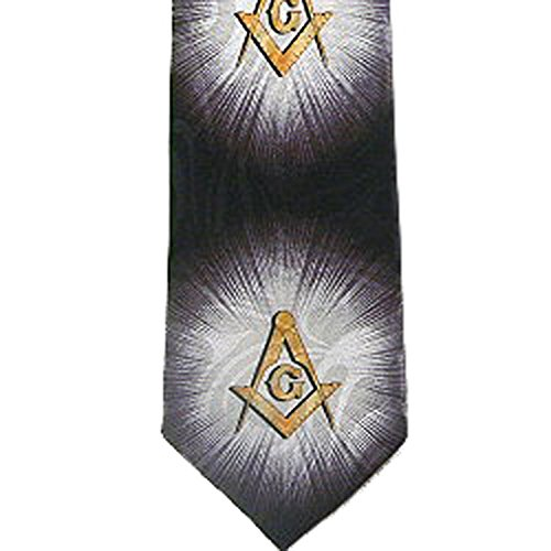 Mason Mens Necktie - Masonic Regalia - Tie for Free Mason Suit Formal Attire. Black and Gold Polyester long necktie. Bursts of Light Masonic pattern design - Compass & Square Masonry Apparel Neckwear (Masonic Tie)