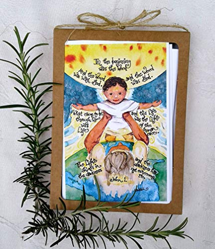 Catholic Christmas Cards with John 1 Light of the World Scripture Art, Set of 8 with Envelopes, Baby Jesus and Joseph, Christian Art, Word Made Flesh, Globe