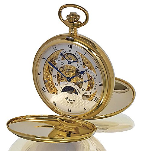 Rapport of London Gold Plated Dual Time Pocket Watch with 17 Jewel Movement by Rapport London