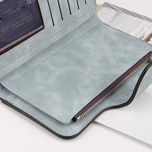 Laynos Wallet for Women Leather Clutch Purse Long Ladies Credit Card Holder Organizer Travel Purse Blue by Laynos (Image #4)