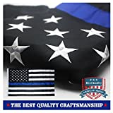 Thin Blue Line American Police Flag 3x5 ft- Embroidered Stars and Sewn ...