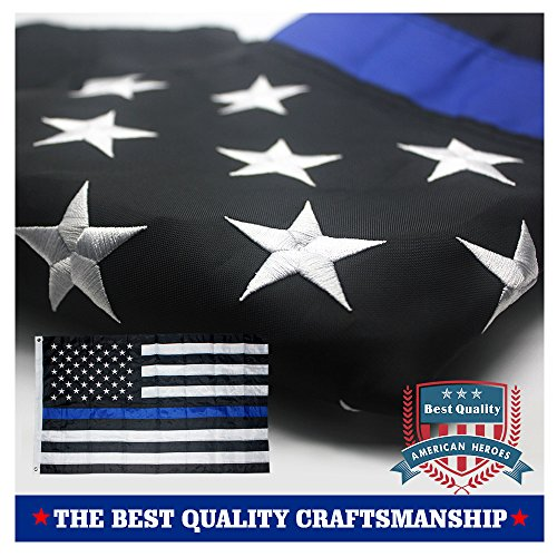 Thin Blue Line American Police Flag 3x5 ft- Embroidered Stars and Sewn Stripes with Grommets Black White and Blue USA Flags