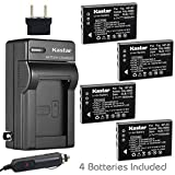 Kastar FNP60 Battery (4-Pack) and Charger Kit for HP PhotoSmart R07 R507 R607 R607v R607xi R707 R707v R707xi R717 R725 R727 R817 R817v R817xi R818 R827 R837 R847 R926 R927 R937 R967