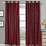 Merryfeel Polyester Jacquard Window Curtain Panels with Grommets – Set of 2-52″ W x 63″ L – Silver/Burgundy – with 2 tie Backs For Sale