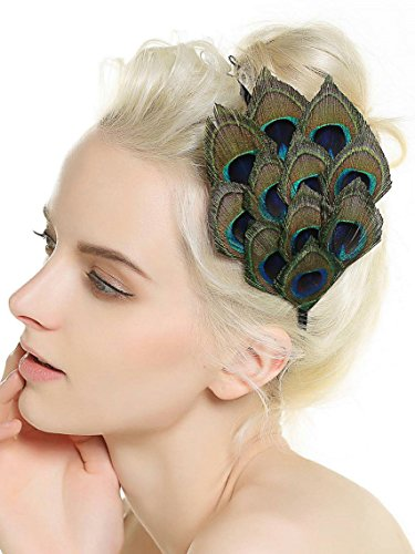 Aukmla Handmade Peacock Feather Headpiece, Fascinator Headband for Fancy Party