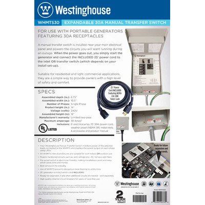 Westinghouse WHMTS30A 210052 30 Amp Manual Transfer Switch by Westinghouse