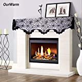 Decoration Spider Venomous Spiders Halloween Party Decoration Spider Web Bats Fireplace Mantel Scarf 50x200cm Black Lace Polyester Bats Cover