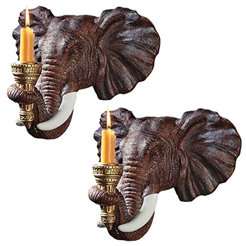 Design Toscano Elephant African Decor Candle Holder Wall Sconce Sculpture, 12 Inch, Set of Two, Polyresin, Full Color (African Elephant Wall Mask)