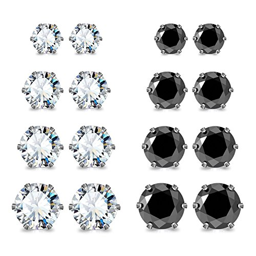 JewelrieShop Stainless Steel Round Ball Studs Cubic Zirconia Studs Faux Pearl Earrings Set for Women (8 Pairs / 18 pairs)