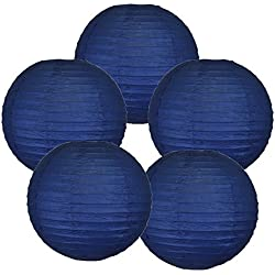 "Just Artifacts 8"" Navy Blue Paper Lanterns (Set of 5) - Click for more Chinese/Japanese Paper Lantern Colors & Sizes!"