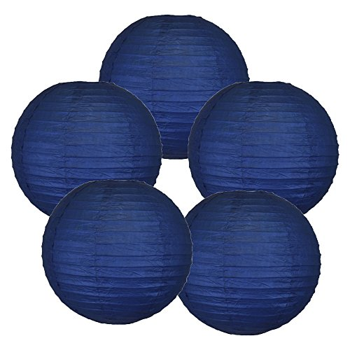 Just Artifacts 6-Inch Navy Blue Chinese Japanese Paper Lanterns (Set of 5, Navy Blue)