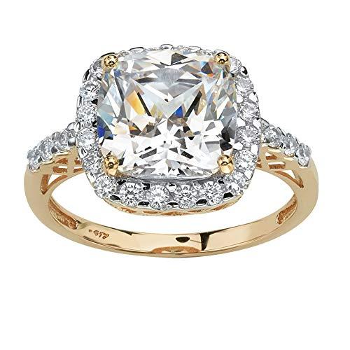 Cushion-Cut White Cubic Zirconia 10k Yellow Gold Cutout Halo Engagement Ring