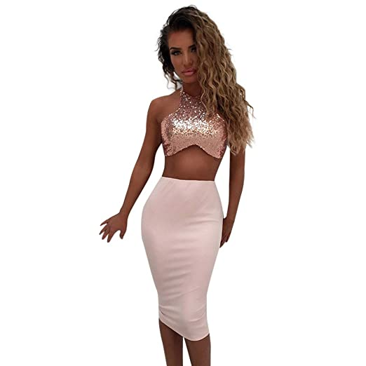d65d0ab83c iDWZA Women Lady Party Cocktail Club Bodycon Two-piece Short Dress Set Crop  Tops Skirt at Amazon Women's Clothing store: