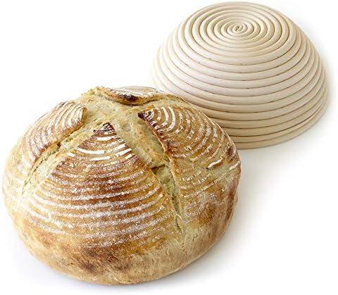 5 inch Bonus Linen Cover 2 Pack of Mini 5 Inch Round Brotform Banneton Proofing Basket Bread Bowl for Baking Dough