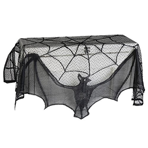 Peyan Halloween Decoration Black Lace Spiderweb Bat Fireplace Cover Party Hanging 36.6