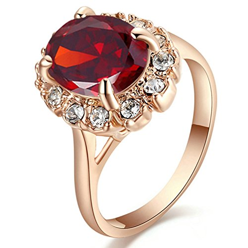 Yoursfs Red Stone Ring with Ruby Diamante Anniversary Crystal Rings Fashion Jewelry for Women (Crystal Ruby Ring)