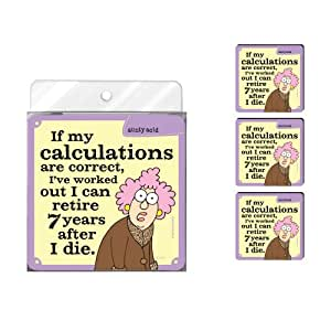 Tree-Free Greetings NC37911 Aunty Acid 4-Pack Artful Coaster Set, Calculations