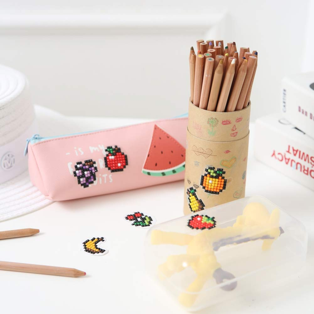 DIY Diamond Pianting Kits for Kids Painting by Number Kits for Children Fruit Kits