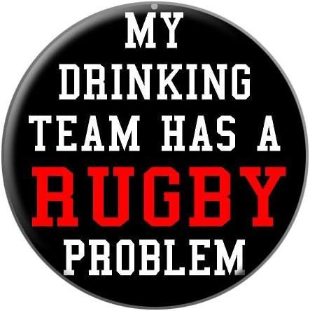 Mi bebida equipo tiene un problema de RUGBY Metal camiseta de ...