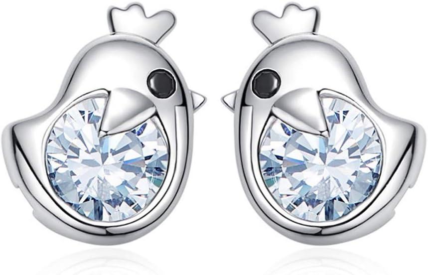 Lindo pájaro S925 plata esterlina pendientes para mujer pendientes con incrustaciones de piedras preciosas joyas personalizadas simples