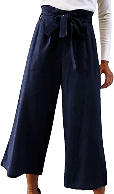 Topkeal Pantalones Anchos Versatiles De Color Liso Para Mujer Pantalones Sueltos De Encaje De Moda Salvaje Para Juvenil Amazon Es Ropa Y Accesorios