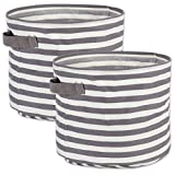DII Cabana Stripe Collapsible Waterproof Coated Anti-mold Cotton Round Basket Bin, Perfect For Laundry Room, Bedroom, Nursery, Dorm, Closet, and Home Organization, Set of 2 Medium -Gray