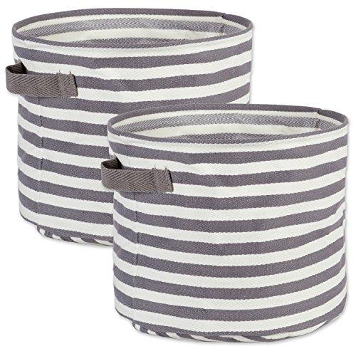 Canvas Round Basket - DII Cabana Stripe Collapsible Waterproof Coated Anti-mold Cotton Round Basket Bin, Perfect For Laundry Room, Bedroom, Nursery, Dorm, Closet, and Home Organization, Set of 2 Small - Gray