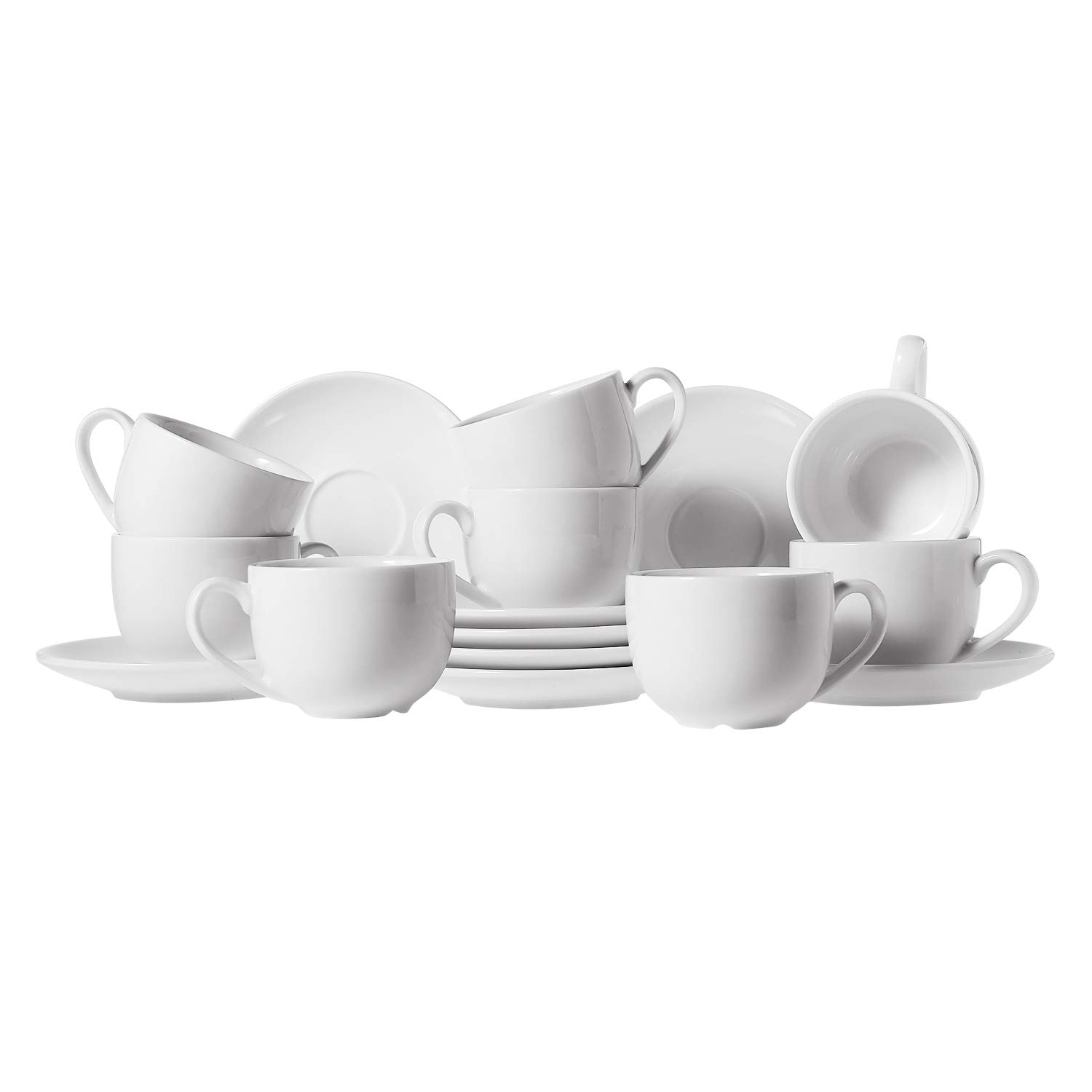 ComSaf Porcelain Espresso Cups and Saucers, 3 ounce Demitasse Cup Set for Coffee, Tea - White, Set of 8