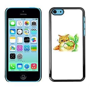 SoulCase / Apple Iphone 5C / Cute Cat Carrot Watercolor / Delgado Negro Plástico caso cubierta Shell Armor Funda Case Cover