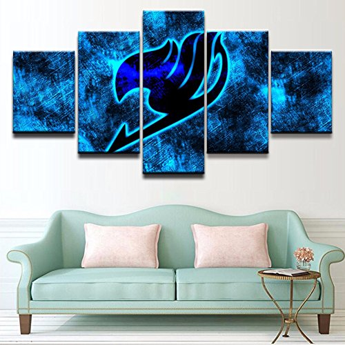 [Small] Premium Quality Canvas Printed Wall Art Poster 5 Pieces / 5 Pannel Wall Decor Anime Fairy Tail Logo Painting, Home Decor Pictures - With Wooden (Fairy Photo Frame)