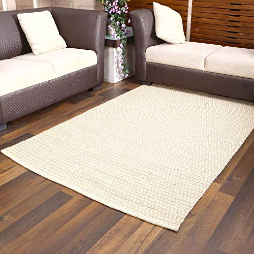 Hand Woven Area Rug - Hexagone Pattern Natural Jute Burlap Entryway Rugs Rustic Farmhouse Decor - Natural Bleached - 5x8 Feet ()