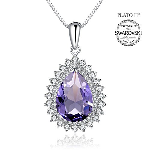 Crystal Necklace PLATO H Teardrop Crystal Necklace Water Drop Pendant Neckalce Woman Fashion Necklace With Swarovski Crystal Gift For Her, purple - Purple Sapphire Pendant