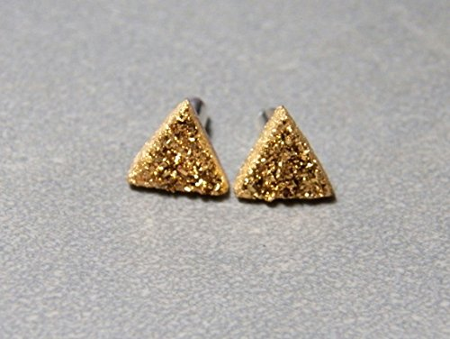 8mm Gold Quartz Druzy and Sterling Silver Post - 24kt Gold Earring Studs