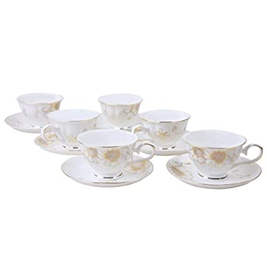 AWHOME Coffee Cups and Saucers and Tea Cup Porcelain White Set of 6 (5 oz) (gold))