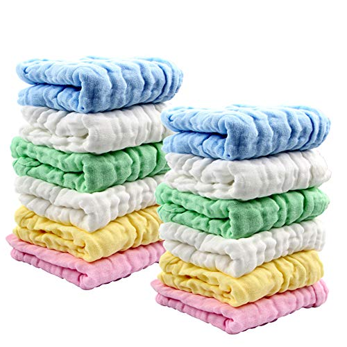 Baby Muslin Washcloths Soft Newborn Baby Face Towel Set Cotton 12x12 inches, Pack of 12