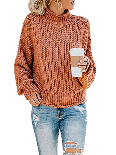 Ashuai Womens Turtleneck Sweaters Baggy Chunky Batwing Long Sleeve Pullover Oversized Knitted Jumper Top Rust