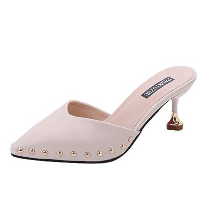 95fd9c8e265327 Amazon.com: Clearance! Hot Sale! ❤ Pointed Single Shoes Women's Sandals  Fashion Stiletto Slippers Ladies Rivet Shoe 2019 New Ladies Summer Sandals:  Arts, ...