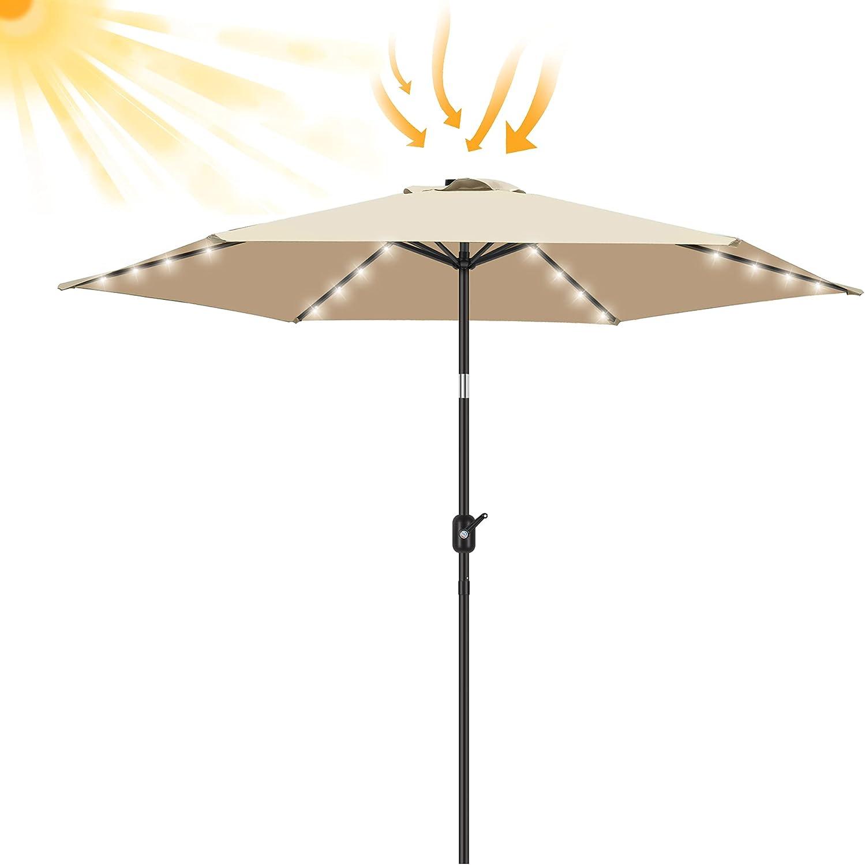 FRUITEAM Led Patio Umbrella Solar Lights, 7.5FT Table Umbrella Solar Powered Outdoor Umbrella with Easy Tilt and Crank for Garden, Deck, Backyard and Pool (Beige)