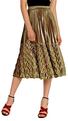 Gold Metalic Skirt (Chartou Women's Glitter Metallic Chevron Pattern Gold & Silver Mid-Long Accordion Pleated Skirts (Gold,)