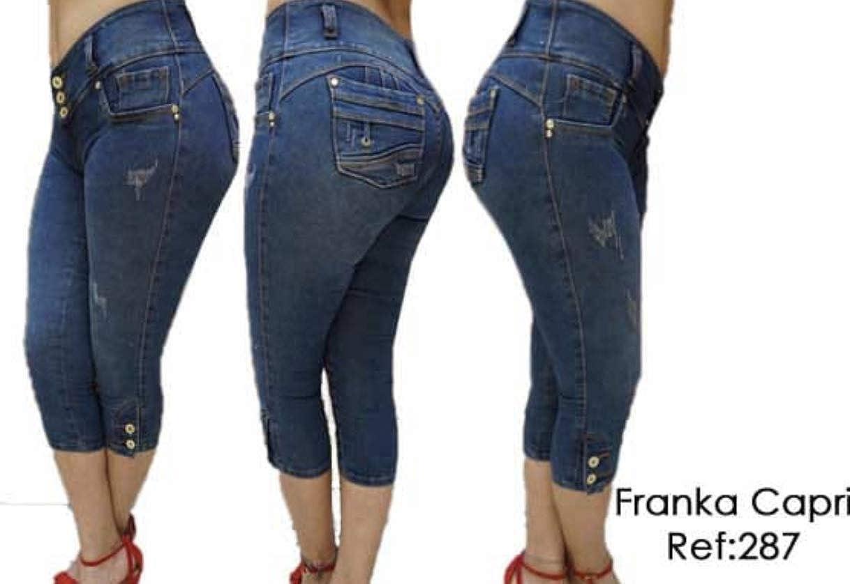 New Franka Jeans Original Levantine cola Stretch Push up Colombian Medium Blue Capri Shorts