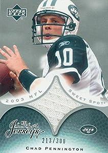 Autograph Warehouse 345013 Chad Pennington Player Worn Jersey Patch Football Card - New York Jets 2003 Upper Deck Sweet Spot No. JCCP