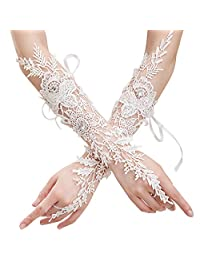 Bridal Fingerless Gloves Rhinestone Lace Glove for Wedding Party Prom White