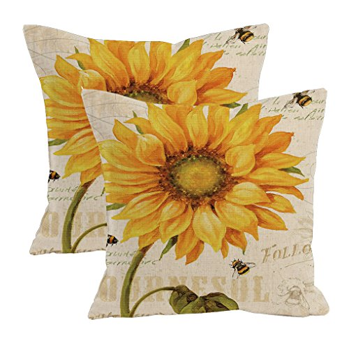 2Pcs Linen Blend Natural Flowers Pattern Cushion Cover Cotton Pillowslip Square Decorative Throw Pillow Case 18 X 18'' (Oil painting sunflower) by Sunkey