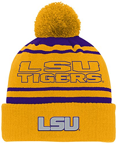 NCAA by Outerstuff NCAA Lsu Tigers Youth Boys Reflective Cuff Knit Hat w/ Pom, Regal Purple, Youth One Size