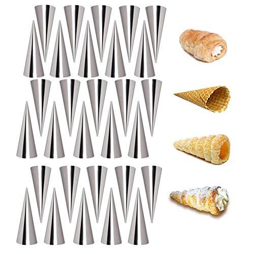 Crème Hoorn Mould, roestvrij staal Non-stick kegelvormige gebak Croissant kegel schimmel, Oven-gebakken Roll Hoorn…