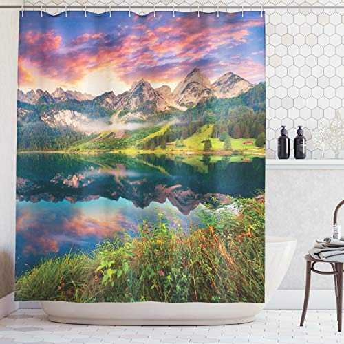 Ambesonne Cottage Decor Collection, Colorful Summer Sunrise on the Vorderer Gosausee Lake in the Austrian Alp Mountains Picture, Polyester Fabric Bathroom Shower Curtain, Ivory Green Orange (Collection Cottage Summer)