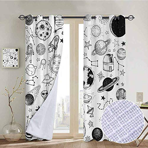 NUOMANAN Living Room Curtains Boys,Hand Drawn Planets Asteroids Constellations Monochrome Elements from The Universe,Black White,Adjustable Tie Up Shade Rod Pocket Curtain 84